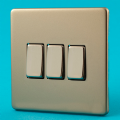 Varilight 3 Gang 1 or 2 Way 10A Rocker Light Switch Screwless Satin Chrome Dec Switch - XDN3S